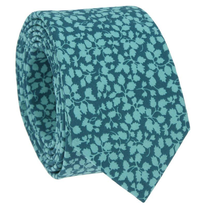 Cravate Liberty vert canard à fleurs vertes