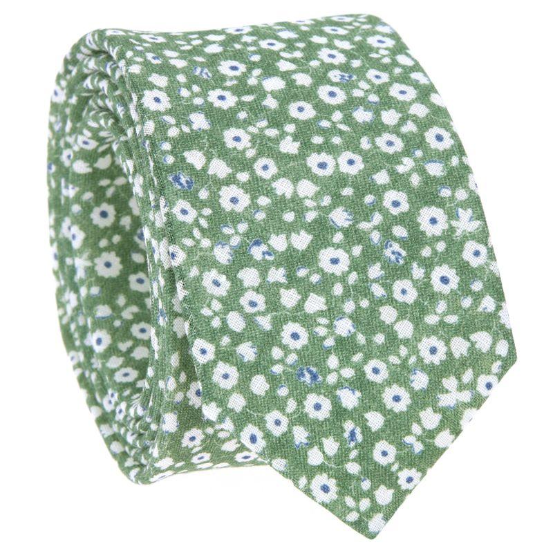 Cravate verte à fleurs blanches en lin