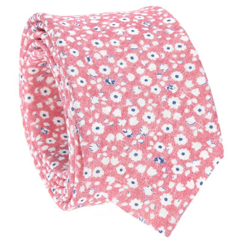 Cravate rose à fleurs blanches en lin