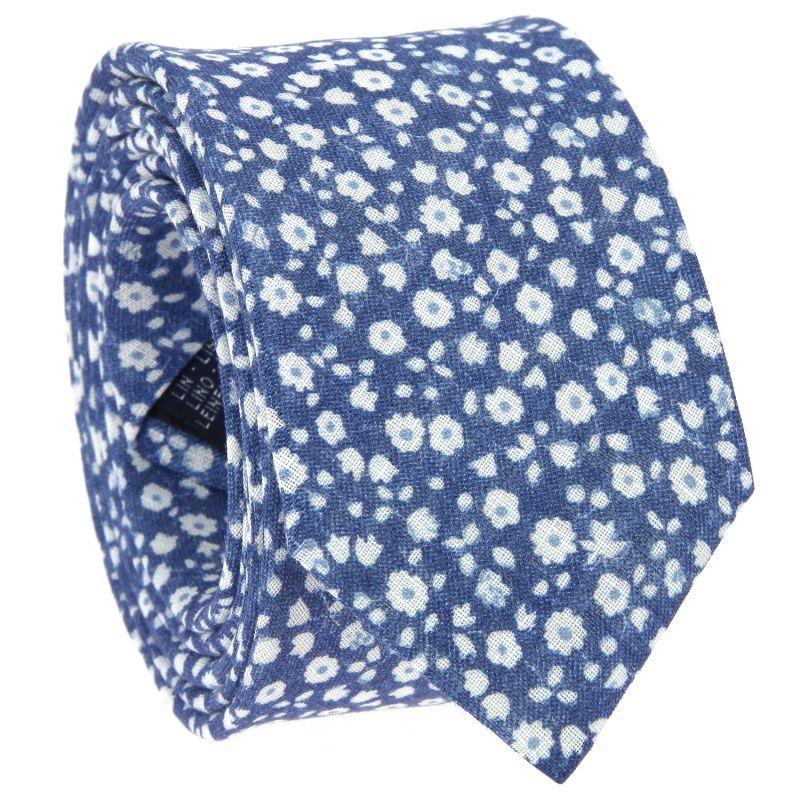 Cravate bleu marine à fleurs blanches en lin