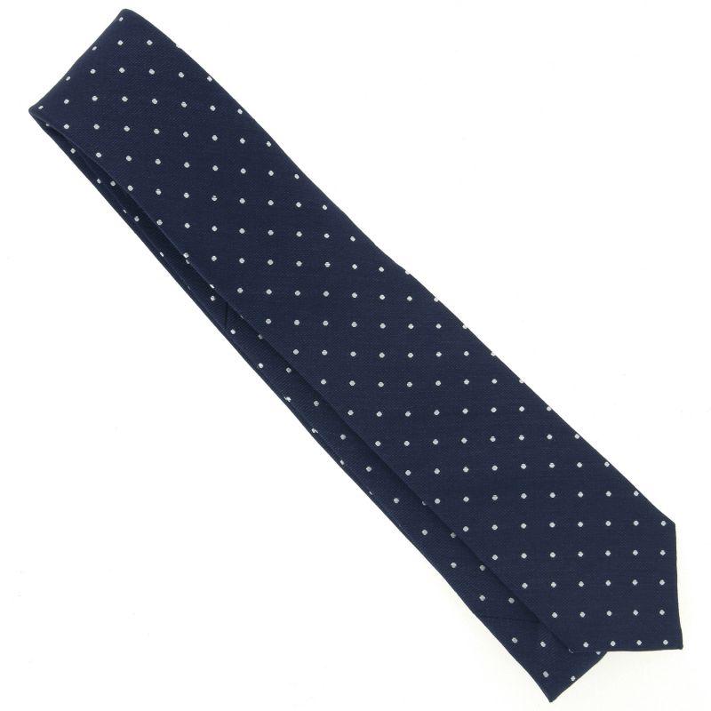 85695023ad583 ... Cravate bleu marine à pois blancs en lin et soie nattés ...