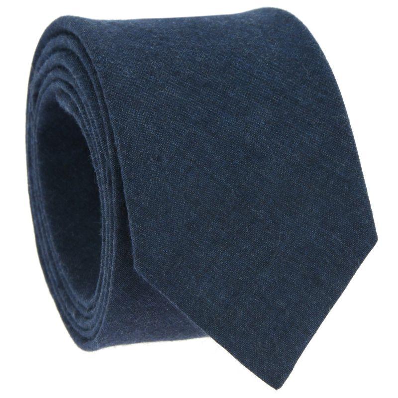 Cravate bleue en lin et coton
