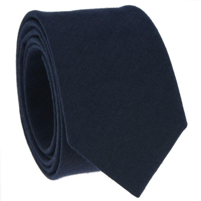 Cravate bleu marine en lin et coton