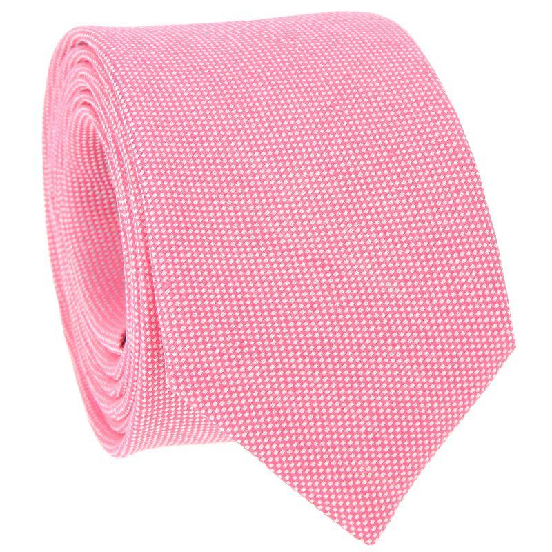 Cravate rose en lin et soie nattés