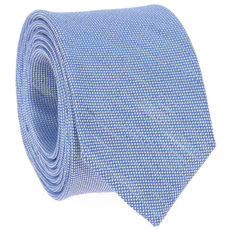 Cravate bleu ciel en lin et soie nattés