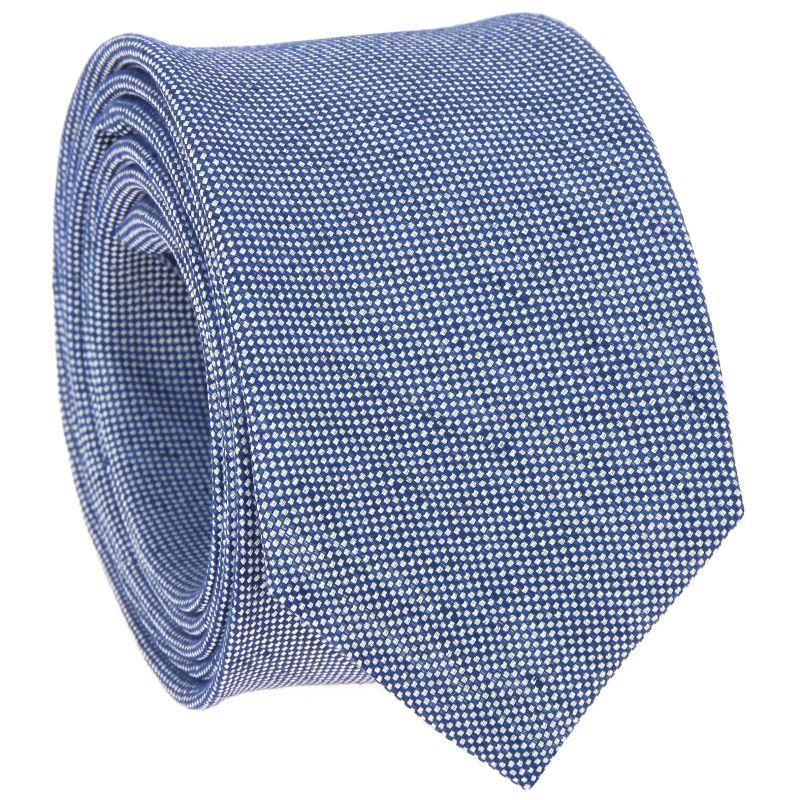 Cravate bleue en lin et soie nattés