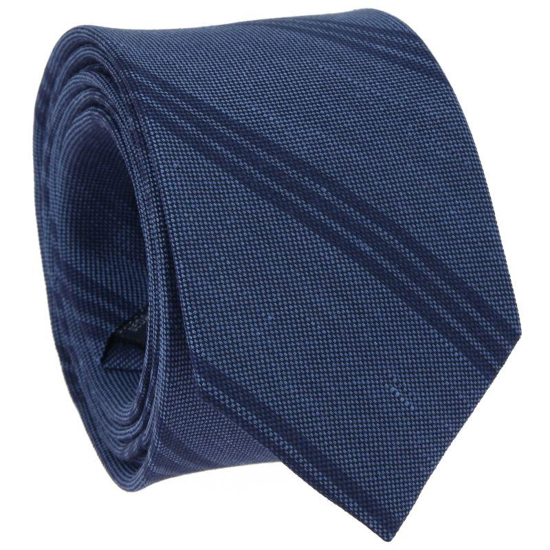 Cravate bleue à rayures bleu marine en soie et lin nattés