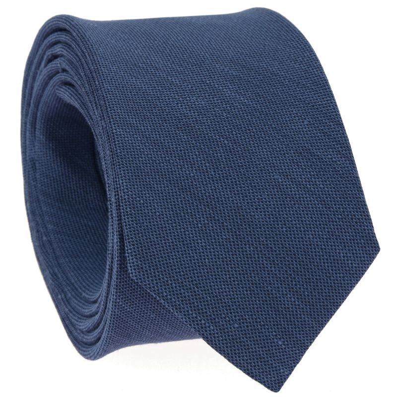 Cravate bleue en soie et lin nattés