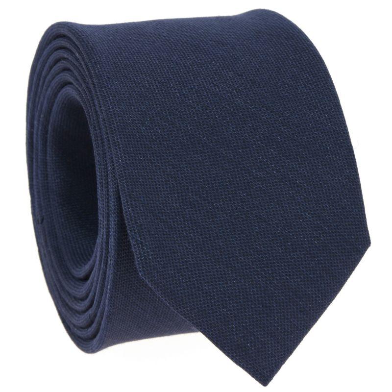 Cravate bleu marine en soie et lin nattés