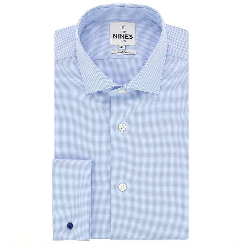 Chemise mousquetaire bleu ciel pied de poule col italien