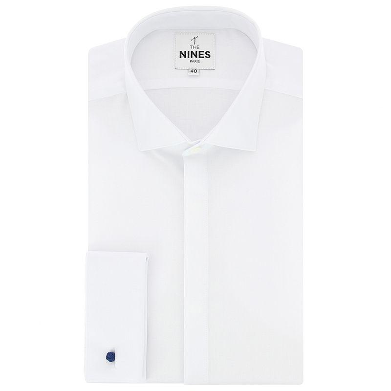 Chemise mousquetaire blanche en oxford natté col italien
