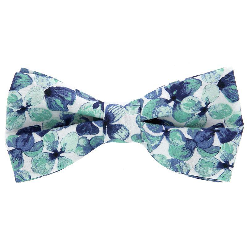 Nœud Papillon Liberty à fleurs bleu marine et vert d'eau