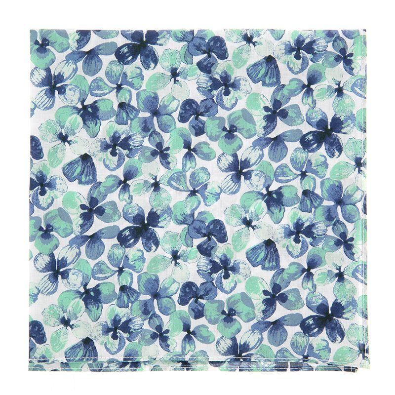 Pochette De Costume Liberty à fleurs bleu marine et vert d'eau