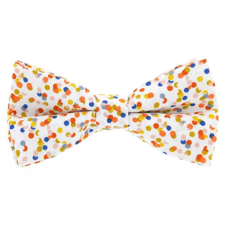 daf5f179f1596 Nœud Papillon blanc à motif confettis - Nœud papillon