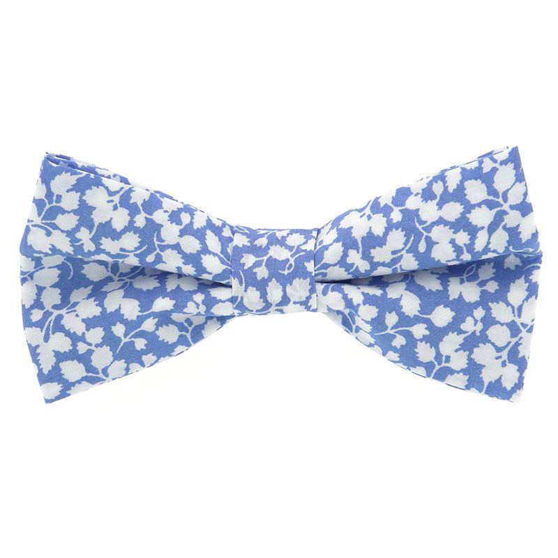Nœud Papillon Liberty bleu ciel à fleurs blanches