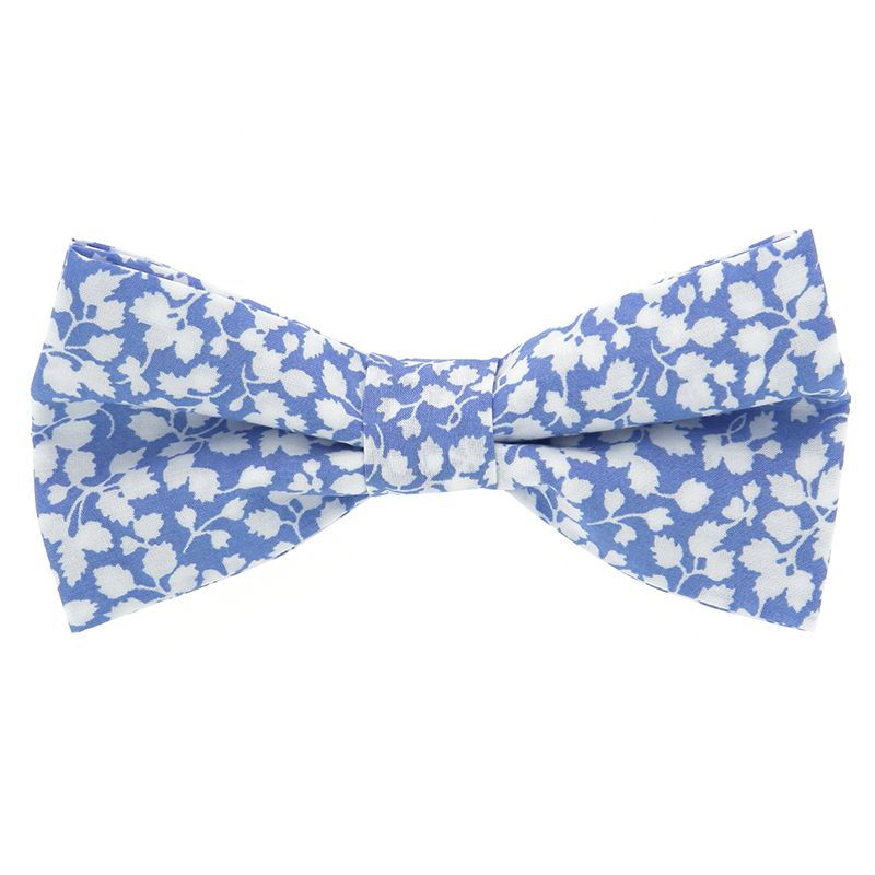 76f1bb820bfa2 Nœud Papillon bleu ciel à fleurs blanches- Nœud papillon Liberty