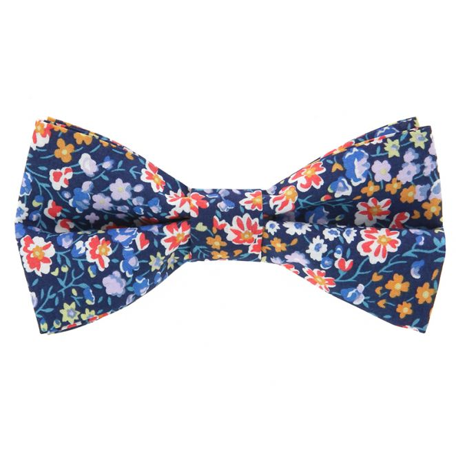 af0879c1055 Nœud Papillon bleu marine à fleurs - Nœud papillon Liberty