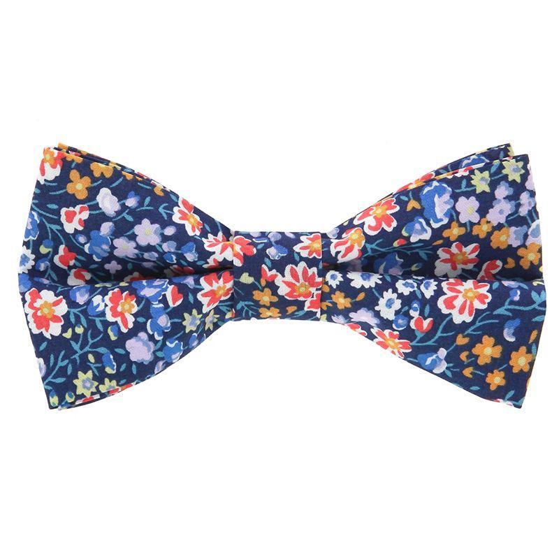 Nœud Papillon Liberty bleu marine à fleurs