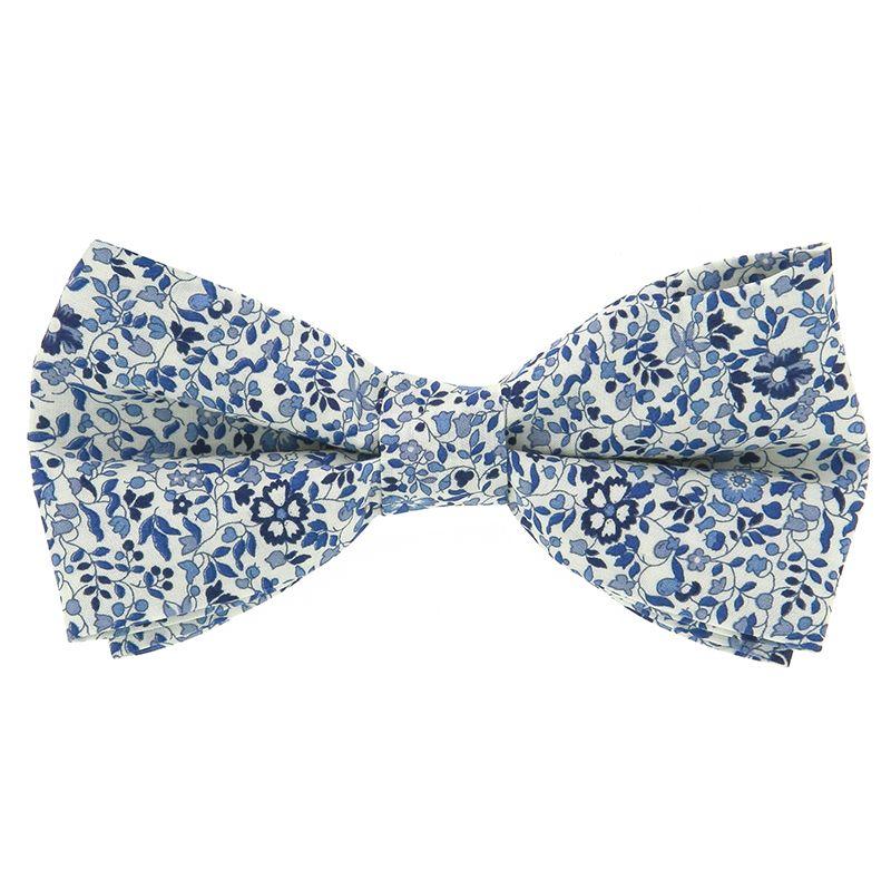 Nœud Papillon Liberty bleu à fleurs