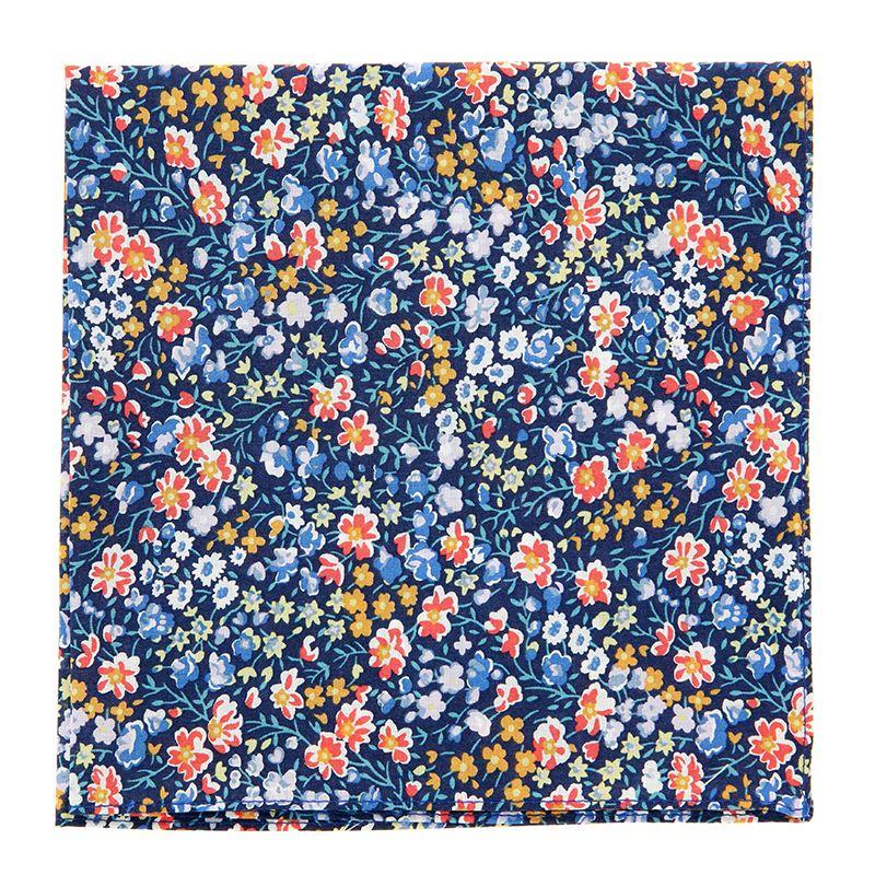 Pochette De Costume Liberty bleu marine à fleurs