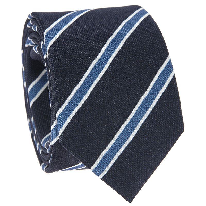 Cravate bleu marine à rayures bleues et blanches en soie imprimée
