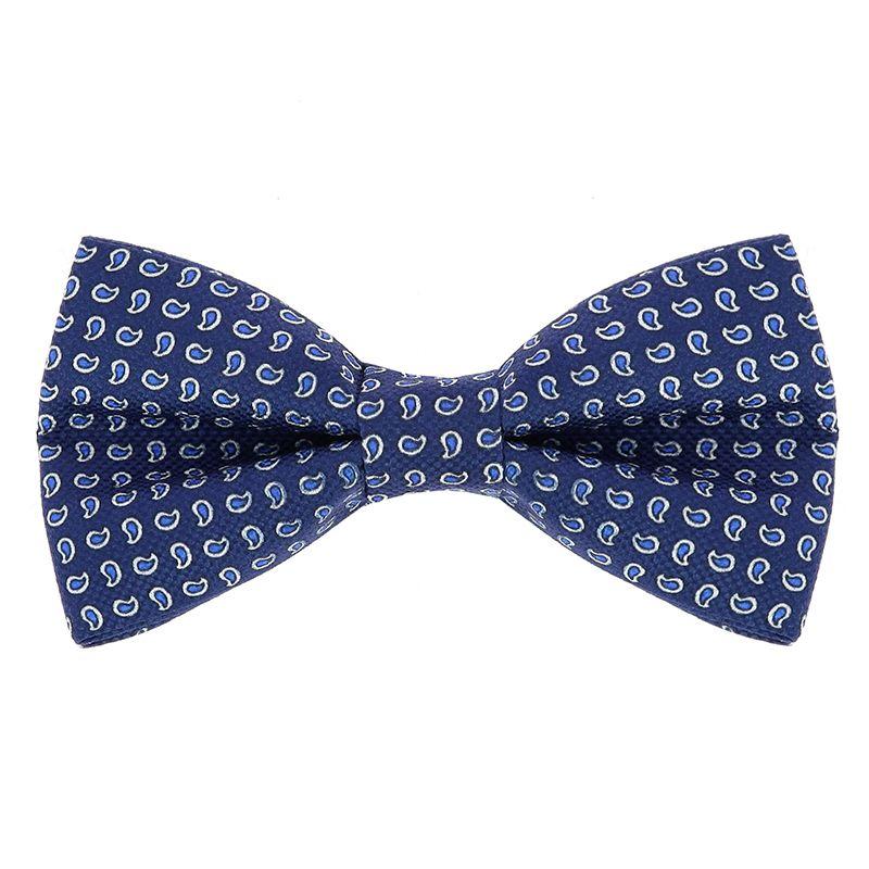 Nœud Papillon bleu acier à motifs cachemire bleus en soie imprimée