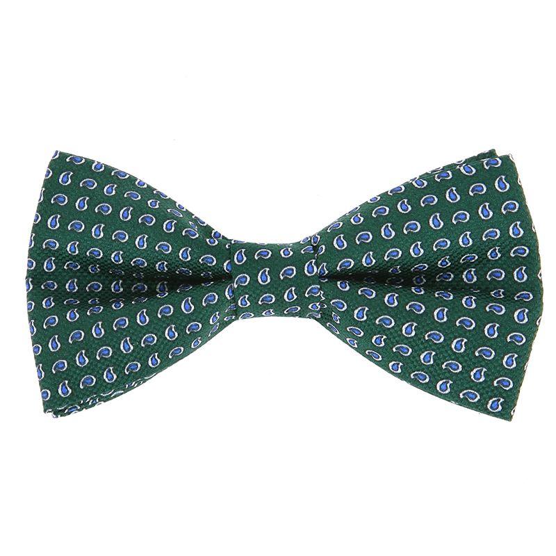 Nœud Papillon vert à motifs cachemire bleus en soie imprimée