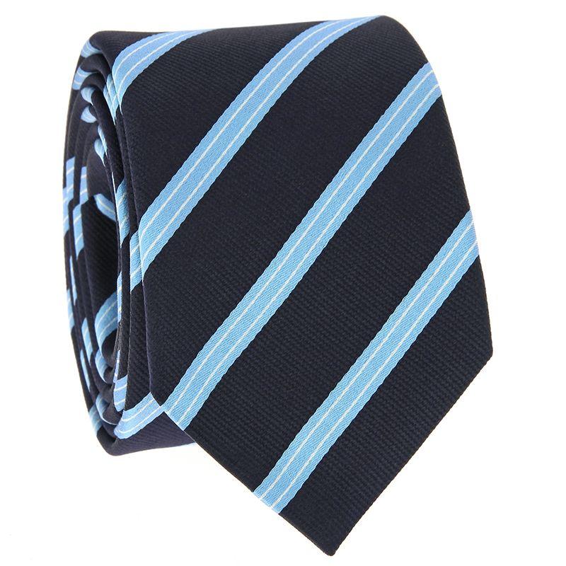 Cravate bleu marine à rayures bleu ciel et blanches en soie
