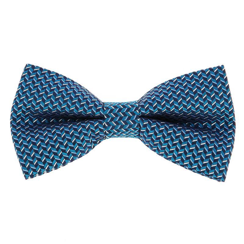 Nœud Papillon bleu canard à motifs géométriques en soie jacquard