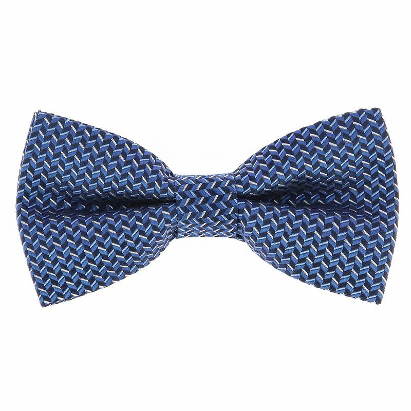 Nœud Papillon bleu à motifs géométriques en soie jacquard