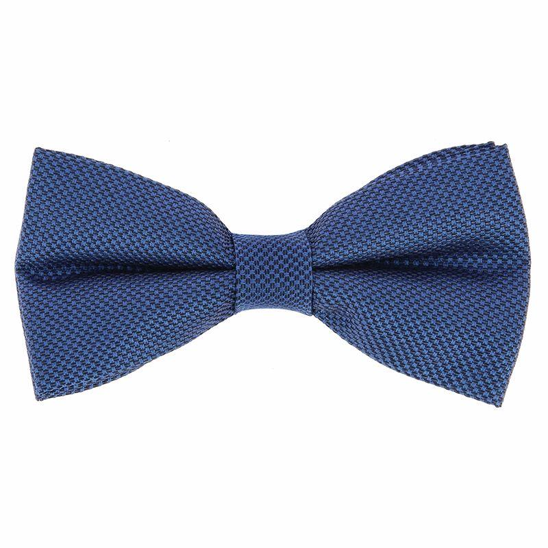 Nœud Papillon faux-uni bleu acier en soie