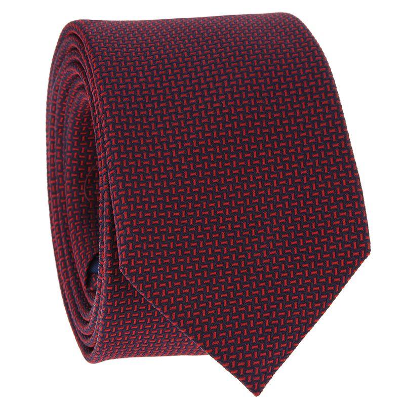Cravate à motifs jacquard bleu marine et rouge en soie