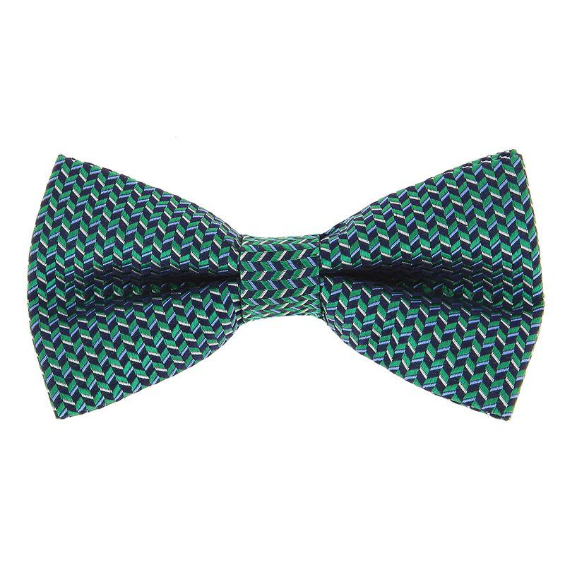 Nœud Papillon vert à motifs géométriques en soie jacquard