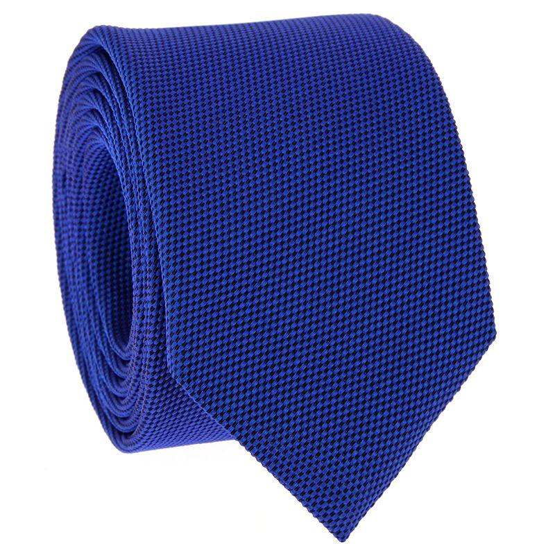 Cravate bleu cobalt en soie nattée - Saint-Honoré