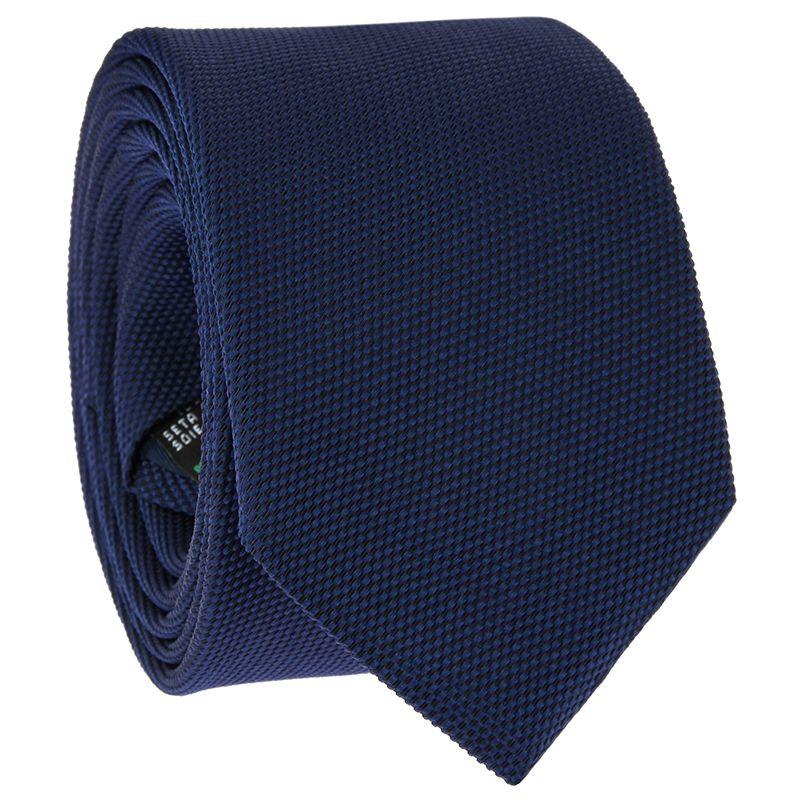 Cravate bleu marine en soie nattée - Saint-Honoré