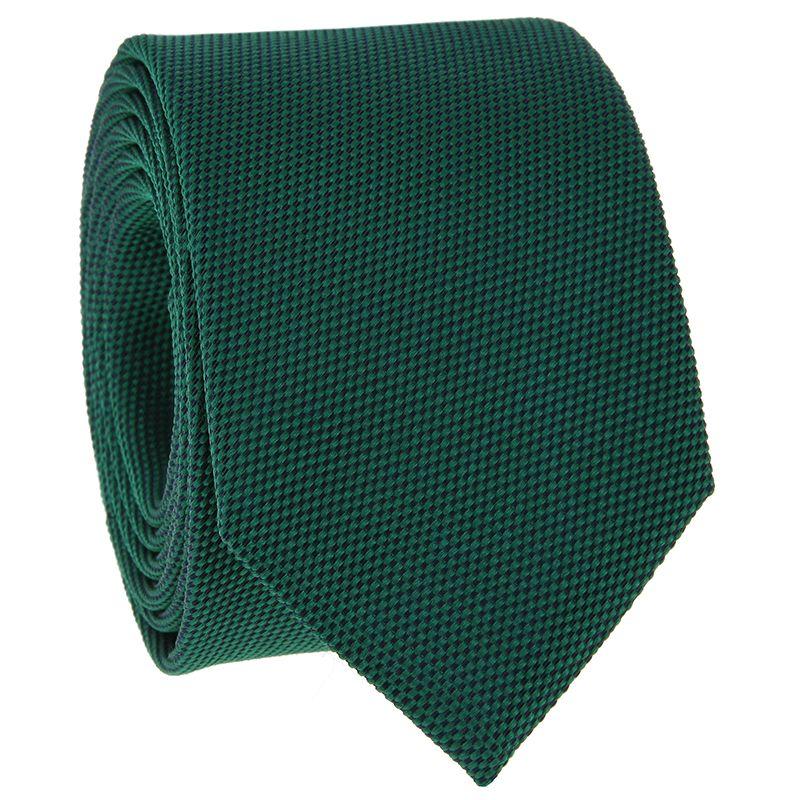 Cravate vert anglais en soie nattée - Saint-Honoré