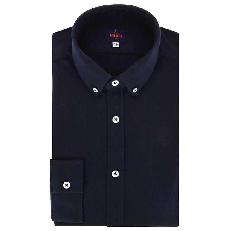 Chemise bleu marine en piqué de coton col américain