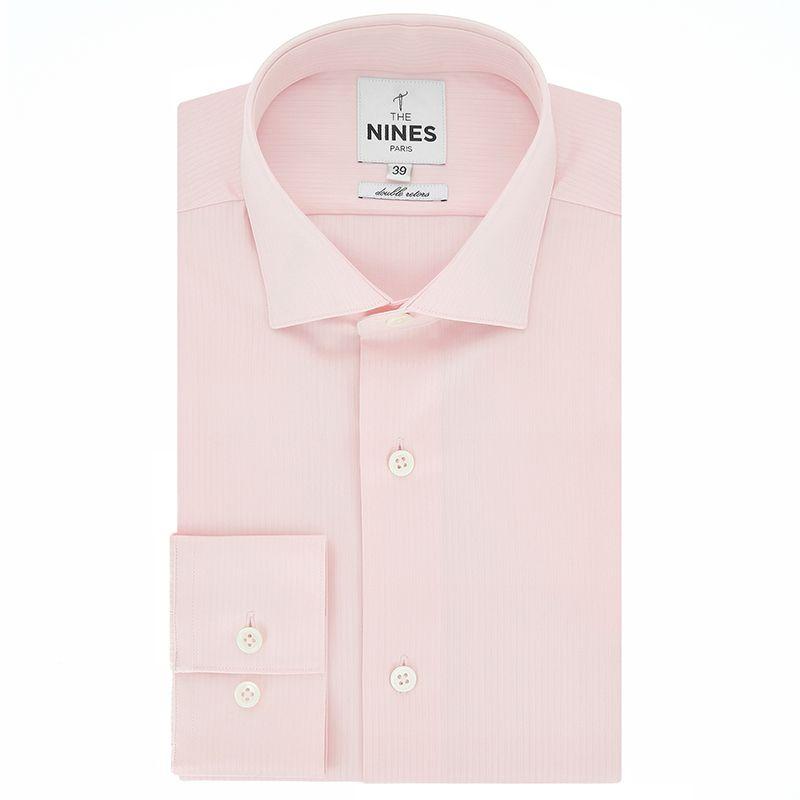 Chemise rose pâle à micro-chevrons col italien