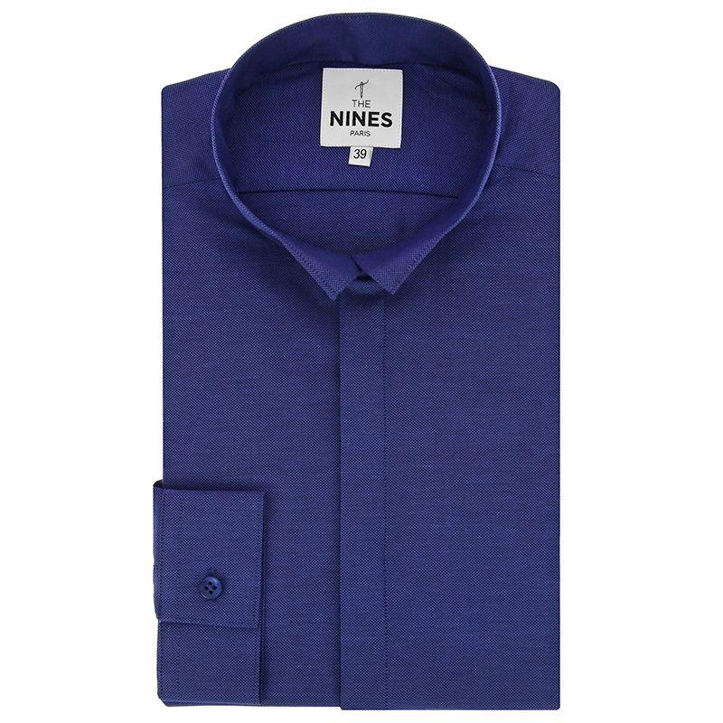 Chemise bleu nuit en oxford col inversé