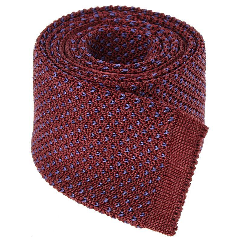 Cravate Tricot bordeaux à motifs V bleus en soie