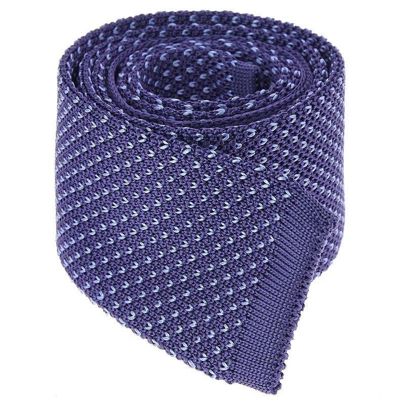 Cravate Tricot bleu indigo à motifs V bleu ciel en soie