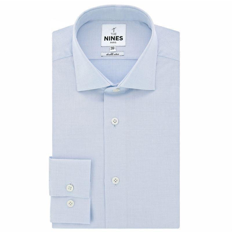 Chemise bleu ciel faux-uni col italien
