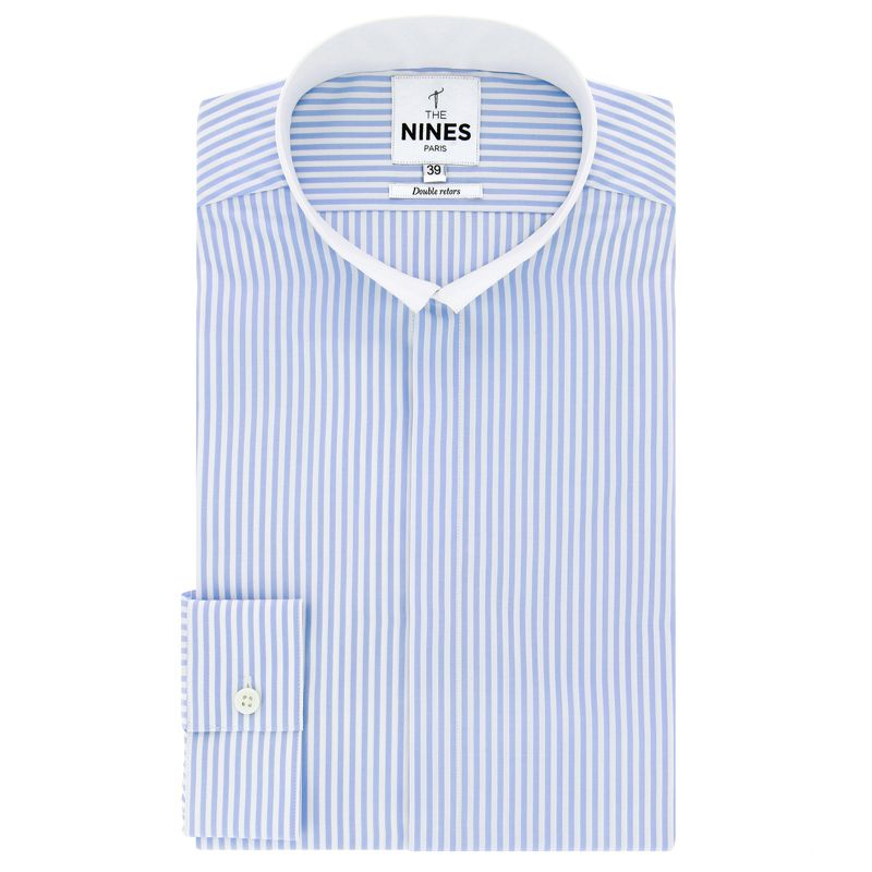 Chemise blanche à rayures bleues col inversé blanc