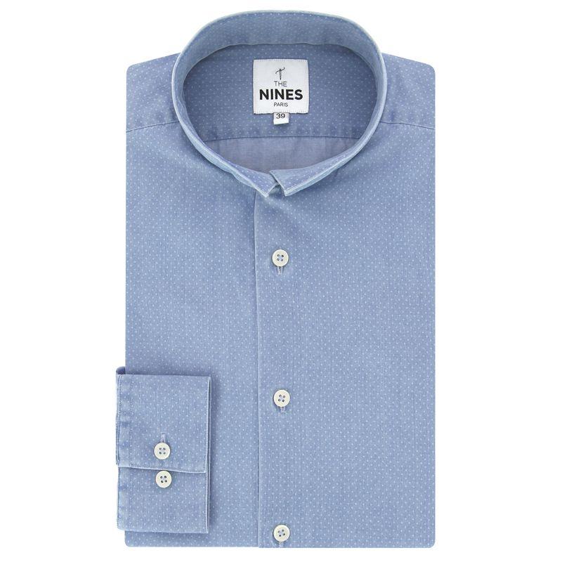 Chemise bleue en denim à pois col inversé