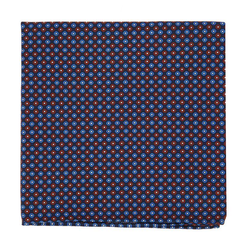 Pochette De Costume bleu marine à pois bordeaux en soie imprimée