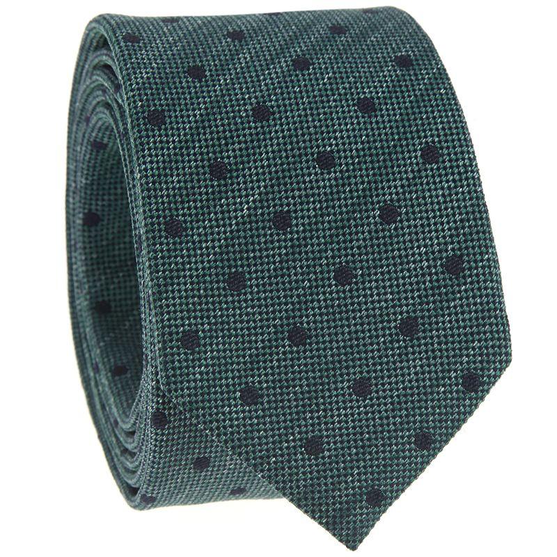 Cravate verte à pois bleu marine en soie jaspée