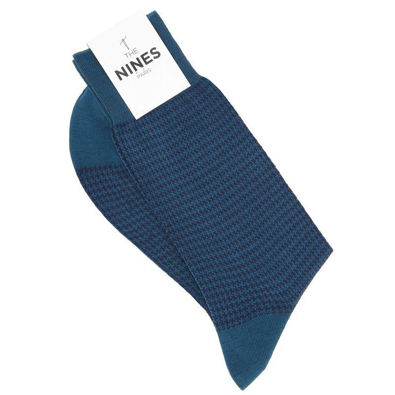 Chaussettes Fil d'Écosse bleu canard à motif pied-de-poule bleu foncé