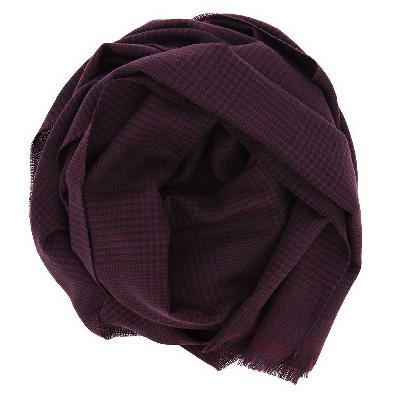 Écharpe bordeaux à motif prince-de-galles en laine mérinos légère