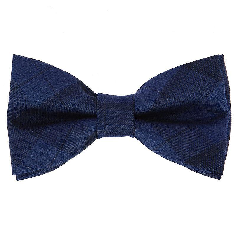 Noeud papillon bleu nuit à motif tartan en laine