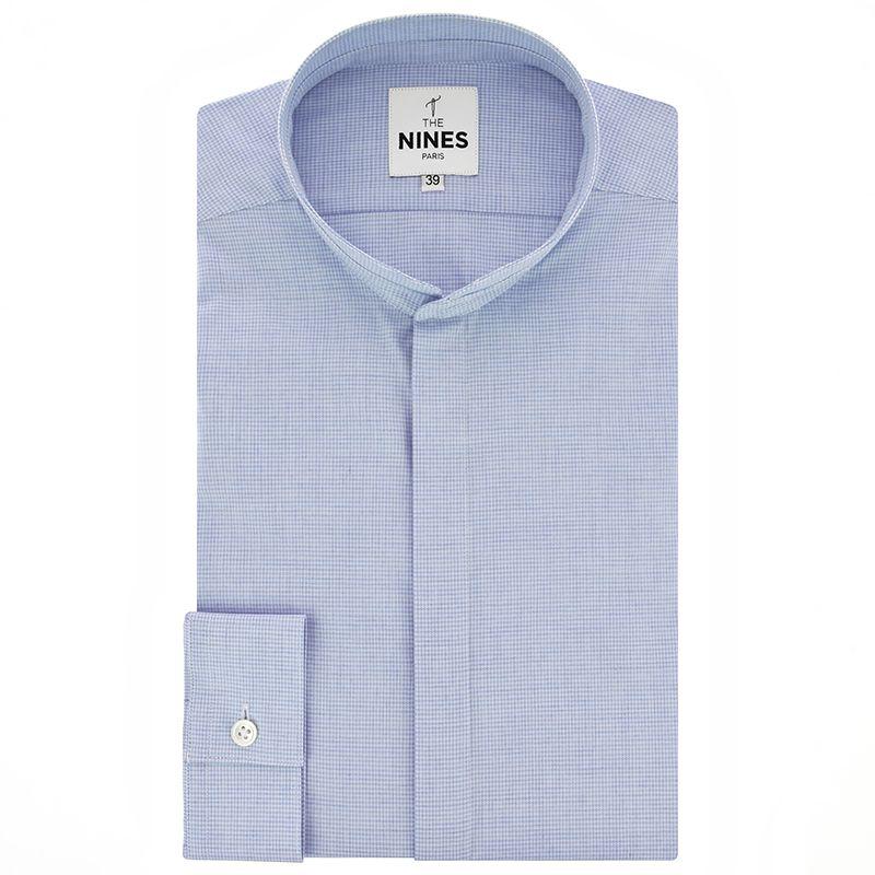 Chemise bleu ciel en flanelle à motif pied-de-poule col mao